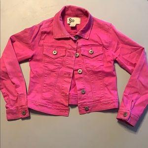 Pink Jean Jacket Size XS 7/8 Girls. GUC!